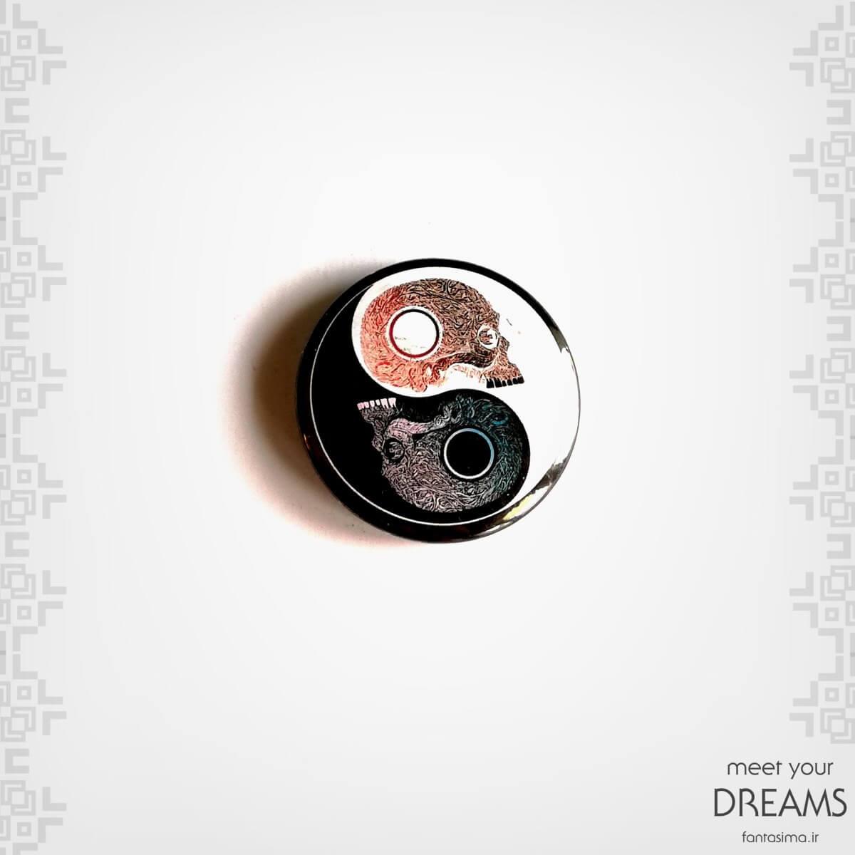 پیکسل فلزی نماد ying yang - اسکلت