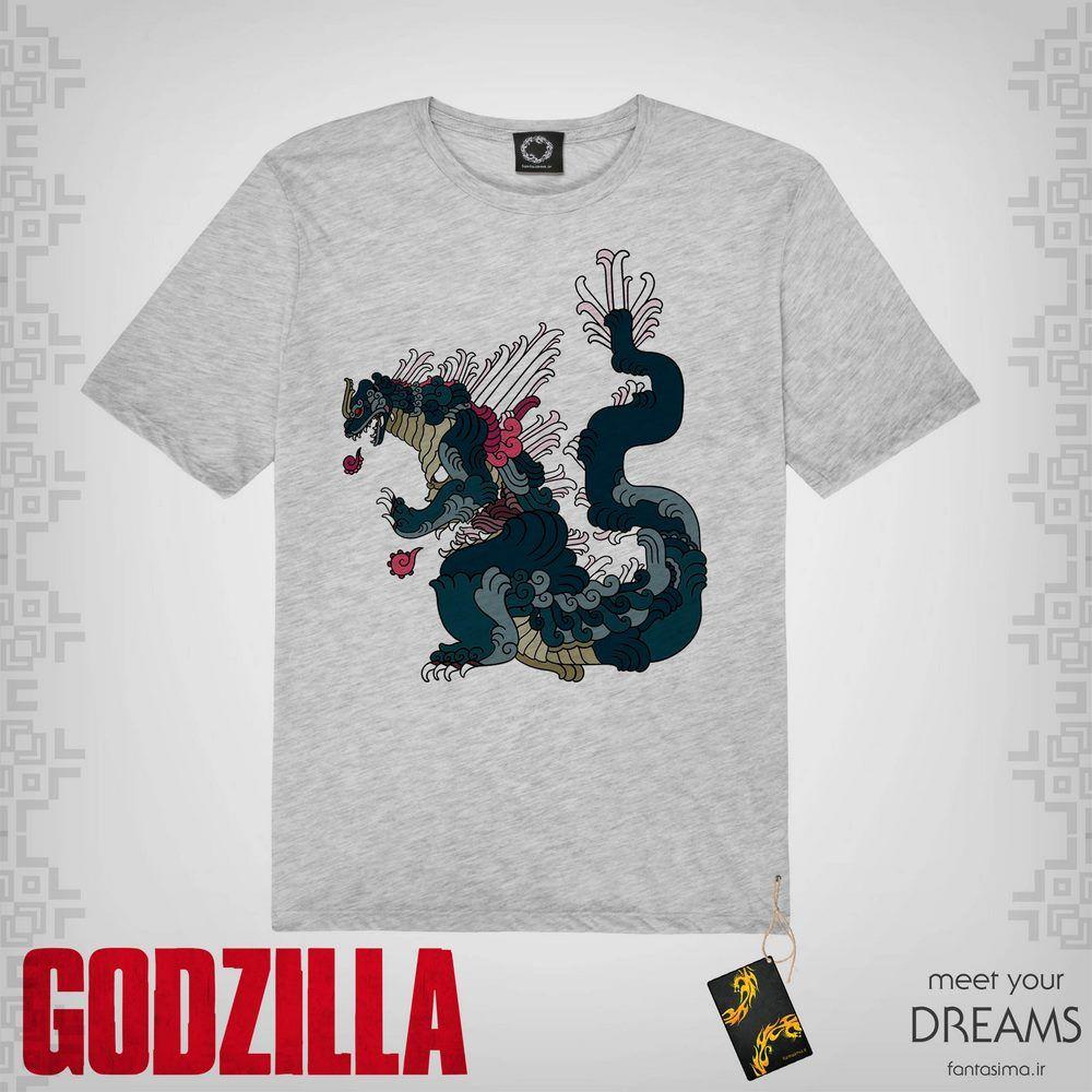 تیشرت نقاشیسبک ژاپنی گودزیلا