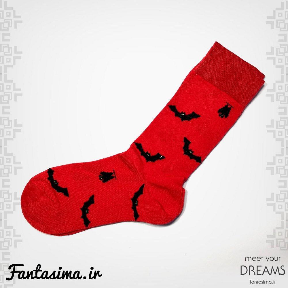 جوراب  قرمز خفاش - طرح هالوین